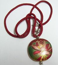 Vintage Cloisonne Enamel Red & Green WATER LILY Necklace