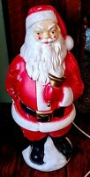 "Vintage Empire 1969 SANTA with BELL & SACK of Presents CHRISTMAS Blow Mold 20""T"