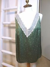 BNWT M&S green ditsy romantic style silky vest top lace trim size 22 RRP £22.50