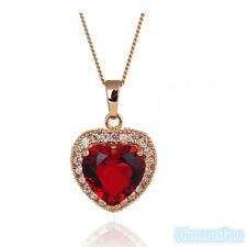 Elegant 18k Yellow Gold Plated Red Zircon Ruby Gem Heart Pendant Necklace
