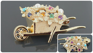 Dan Frere 14k Gold Brooch With Ruby, Sapphire, Emerald, Turquoise, Citrine,Pearl