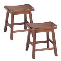 "Gaucho Set of 2 Kitchen Walnut 18""H Height Bar Saddle Stools Solid Wood Seat NEW"