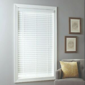 Faux Wood 2 inch Cordless Window Blinds Horizontal Covering White Multiple Sizes