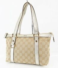 Authentic GUCCI Brown GG Canvas Gold Leather Small Tote Hand Bag Purse #38543