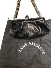 Jane August Black Leather Evening bag Clutch with Heavy Leather Treaded Chain!