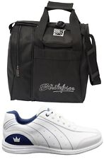 Womens MYSTIC Bowling Ball Shoes White/Blue Sizes 7-11 WIDE & Black 1 Ball Bag