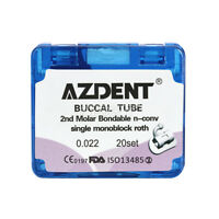 AZDENT Buccal Tube Roth. 022 For 2nd Molar Monobloack Bondable Non-Convertible