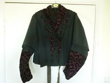 Antique Victorian ladies costume top blouse jacket black & red figured velvet AF