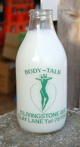 nice KOSMOS sun beds / BODY-TALK advert milk bottle : dairy