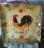 """MAXCERA HONEY ROOSTER 11.5"""" SQUARE ORANGE YELLOW GREEN Plate WITH DISPLAY STAND"""