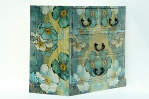 Wood handmade Chest of 4 drawers Decoupage Blue Flowers desing