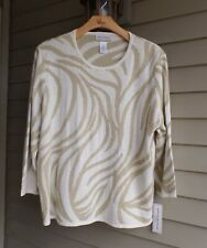 NWT ALFRED DUNNER LOVELY IVORY ANIMAL VIBES TOUCH SPARKLE & BEADS SWEATER $56 3X