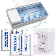 4 -Ni-MH 1.2V D Rechargeable Batteries Replace Alkaline 1.5V D Battery R20P UM-1