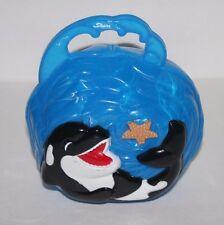 Seaworld Shamu Whale Lunch Box Purse Tote, Blue Plastic, 2006, Fish Sea
