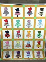 "Vintage Handmade Sunbonnet Sue Patchwork Quilt Blanket Measures 69"" x 84"""