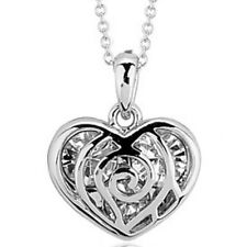 Clear White Gold Finish Heart Pendant Necklace Quality Valentines Jewellery UK