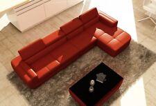 Ecksofa Ledersofa Wohnlandschaft L Form Sofa Couch Polster Sitz Ecke Tettau Rot