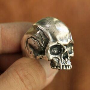 LINSION 925 Sterling Silver Skull Ring Mens Biker Ring Handmade Jewellery TA102B