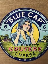 Antique Packaging Label Blue Cap Gruyere Cheese Lady Paper Graphics Vintage