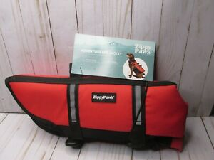 Z Zippy Paws Dog Life Jacket, Ripstop Life Vest with head support  Red MEDIUM
