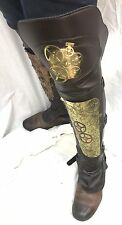 SDL Steampunk Brass Cogs Metal Leg Armour And Knee With Leather Look,With Straps