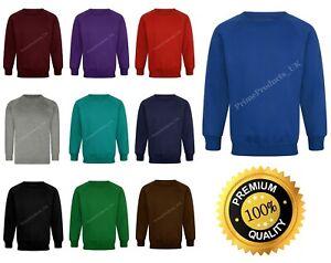 Boys/ Girls/ Unisex School Jumper Crew Round Neck Sweatshirt Uniform Ages 1-14