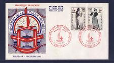 enveloppe 1er jour   paire croix rouge  Bordeaux       1963