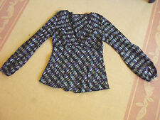 LADIES BLACK PATTERNED COTTON LONG SLEEVE TOP BY UTECH  - SIZE 8/10 - CHEAP