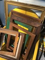 Vintage Lot 7 Picture Art Frames Estate Lot WOOD Green Gold 8x10 To 20x26 Shabby