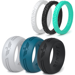Silicone Wedding Rings | Wedding Bands for Men and Women - 6 Ring pack - RINFIT