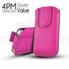 Magnet Button Premium PU Leather Pull Tab Pouch Case 4 Various LG Mobile Phones