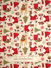 Debbie Mumm Santas Gifts Christmas Reindeer Present Cotton Fabric 1.2 Yards