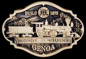 railroad, belt buckle solid bronze, V & T, Genoa #12,   #125 of 300