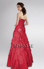 BELLE OF BALL! BEADED EVENING/PROM/FORMAL DRESS WITH PETAL-SKIRT; RED AU16/US14