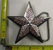 STAR METAL BELT BUCKLE PINK CRYSTAL RHINESTONES BLING JEWELED GEMS NEW B304