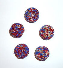 "Red White Blue Seedbeaded Chunky Round Beads 20mm 0.90"" 10 pcs"