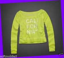 Hollister Co Women's NEON GREEN Long Sleeved Graphic Sweater MEDIUM M
