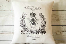 "Chateau Bee - 16"" white cushion cover French shabby vintage chic UK handmade"