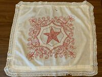 Vintage REDWORK HAND EMBROIDERED Linen Floral & Star  Pillow Overlay~30x28
