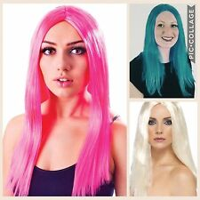 "FANCY DRESS WIG BRIGHT NEON PINK BLUE WHITE BLONDE 17"" LONG HEN PARTY STRAIGHT"