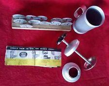 Vintage Mirro Aluminum Cookie Press 11 Disks Plates Wood Holder Spritz