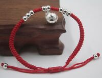 Good Luck Pure 925 Sterling Silver Fu Bell Charm Red Cord Knitted Bracelet
