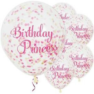 """Birthday Princess Pink Confetti Party Balloons - 12"""" / 3cm Latex (pack of 6) ~"""