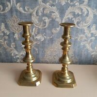 Pair Antique Victorian large brass candlesticks with pushers