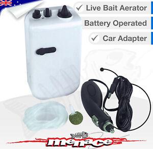 Live Bait AERATOR Air Pump Fish Tank, Oxygen, Bubbles, Battery Cig Car Aquarium