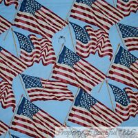 BonEful FABRIC FQ Cotton Quilt Blue Red White Navy American Flag Star USA Large