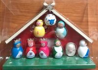 Wood Nativity Set New Folk Art 10 Pieces Colorful 6 X 8 inches Christmas