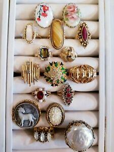 Vintage Mod Costume Ring LOT Emmons Napier Sarah Coventry Avon