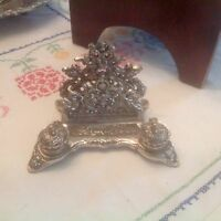 Victorian DESIGN ORNATE HEAVY CAST METAL FOOTED DOUBLE INK WELL PEN REST  Letter
