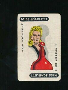 C. 1950 Parker Brothers Original Clue Board Game Miss Scarlett Suspect Card rare